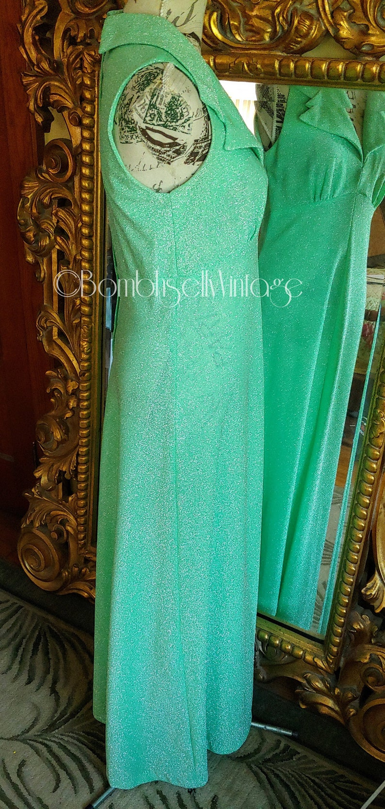 Vintage 70/'s Green Sparkle Maxi Dress with Wide Collar and Pucker Jacket