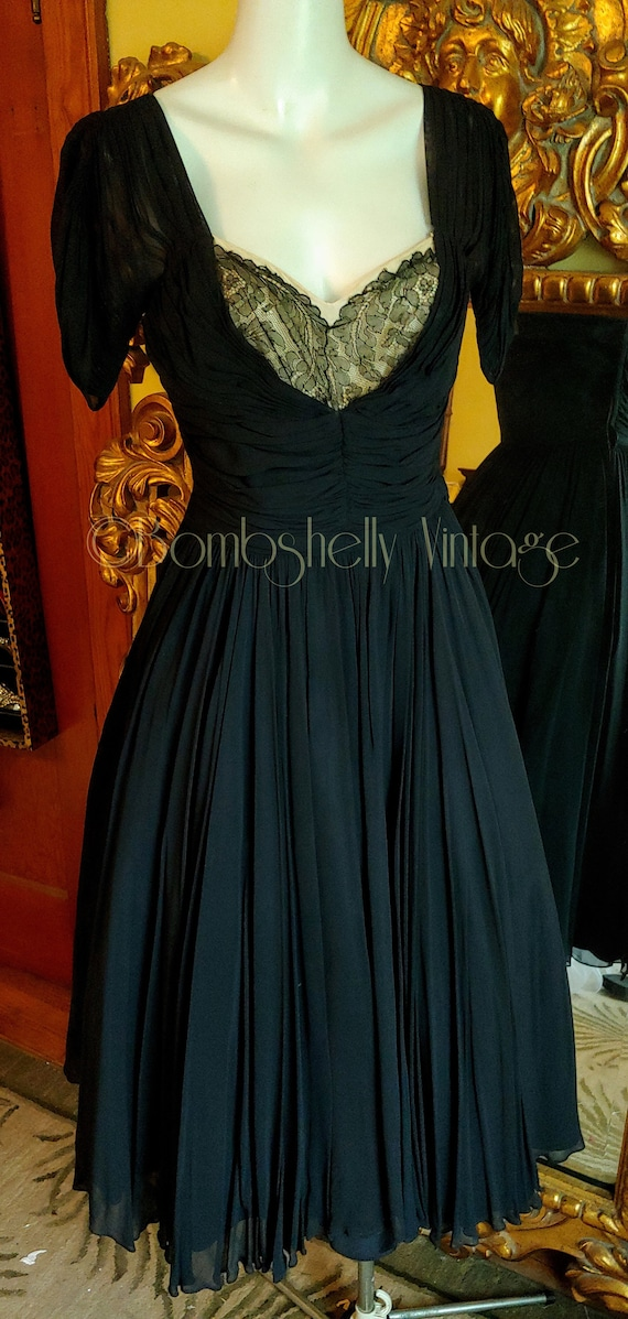 Vintage 40's Frank Starr Black Silk Chiffon Dress
