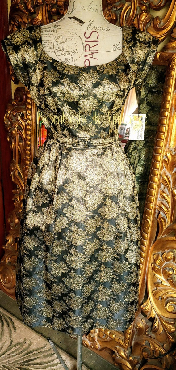 Vintage 50's Black and Gold Floral Party Dress