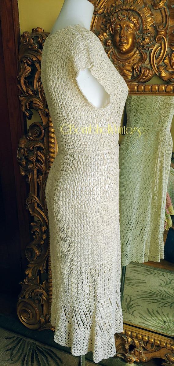 Vintage 70's Natural Cotton Crochet Dress - image 7