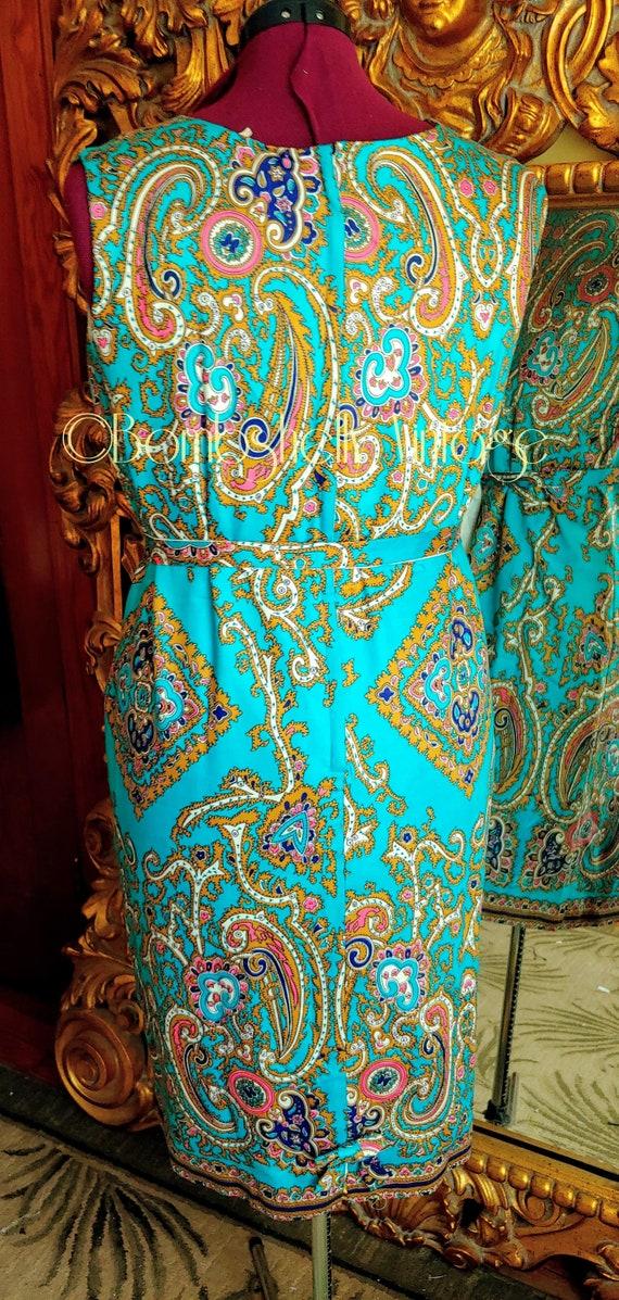 Vintage 60's Blue and Gold Pima Cotton Paisley Sh… - image 5