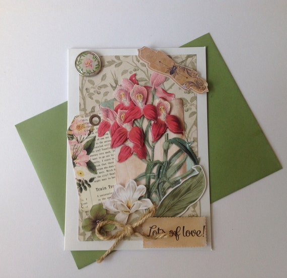 Birthday Card Made Hand 3D Botanical Spirit Exotic Flower