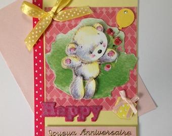 Kids birthday card made 3D, Teddy bear, happy birthday card, teddy bear