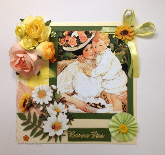 card happy birthday all occasions 3d vintage flowers etsy