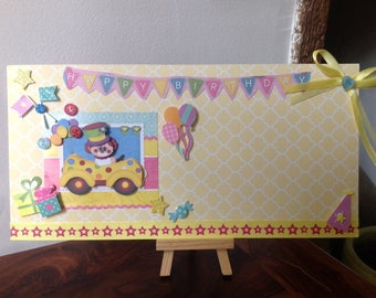 Great kids birthday card, 3D, handmade door photo, jumble, picture frame.