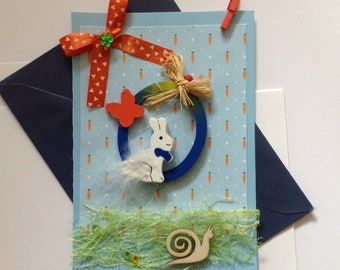 Easter, made card, 3D easter card, Happy Easter, rabbit, Easter eggs