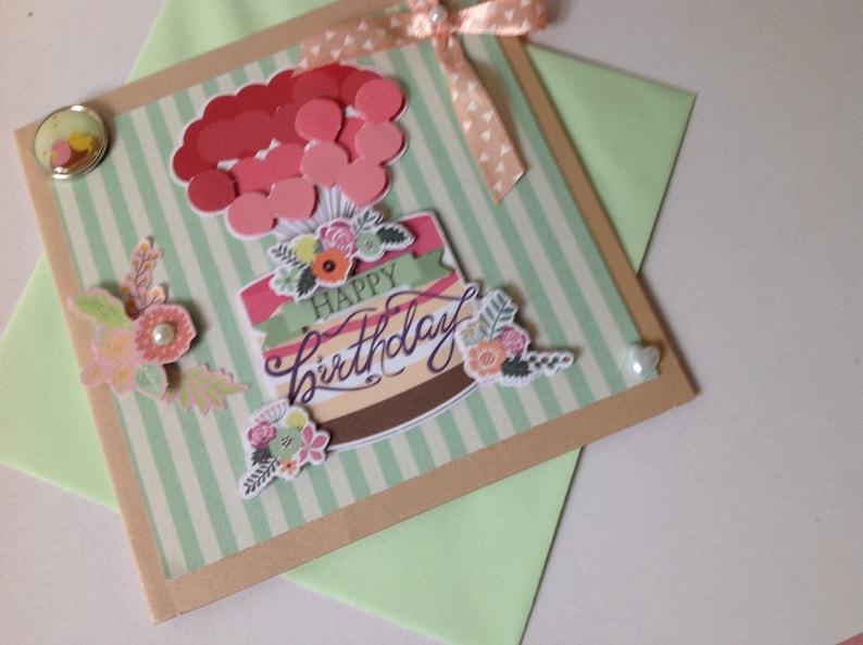 3D handmade Made card Cake Birthday balloons