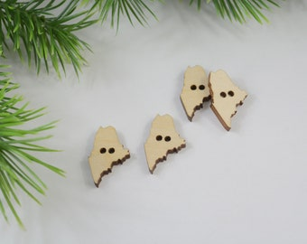 """1"""" Wood Buttons, Maine Buttons, Maine Shaped Buttons, State Buttons, Wooden State Buttons, Laser Cut Buttons, Natural Wood Buttons"""