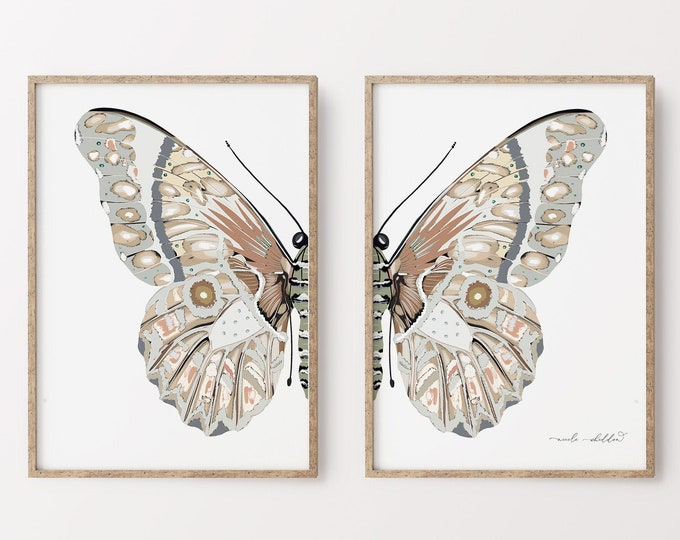 Butterfly Modern Illustration Print, Neutral Tone Art Print Set, Downloadable or Printed, Romantic Rustic Artwork Set of 2, Large Art Print