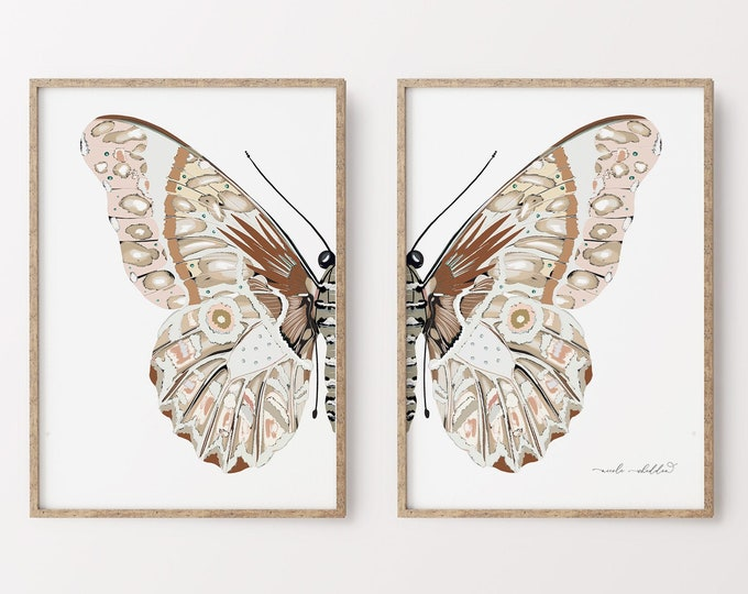 Modern Rustic Butterfly Art Print, Wall Art Set of 2, Earth Tones, Boho Nursery Wall Print Diptych, Downloadabl  Decor or Printed, Canvas