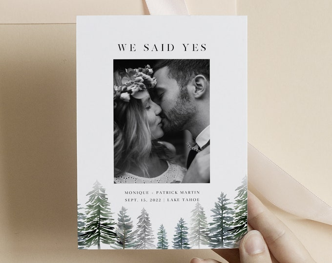 Elopement Announcement Holiday Card, Instant Download, Rustic Just Married Template, Winter Wedding Announcement Christmas With Photo, Trees