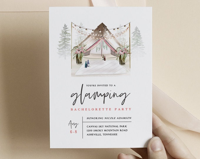 Glamping Bachelorette Party Invitations, With Itinerary, Instant Download, Camping Birthday Invite, Glamping Party Invitation Template Tent