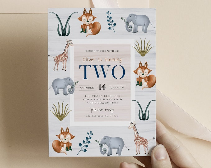 Woodland Birthday Invitation, Instant Download, Toddler Boy Birthday Invite, Watercolor Forest Animals, Printable Safari Theme Invitations