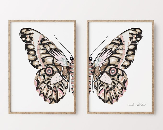 Butterfly Illustration Print, Farmhouse Wall Art Set of 2, Blush Pink, Modern Nursery Artwork Print Diptych, Digital Print or Printed Series