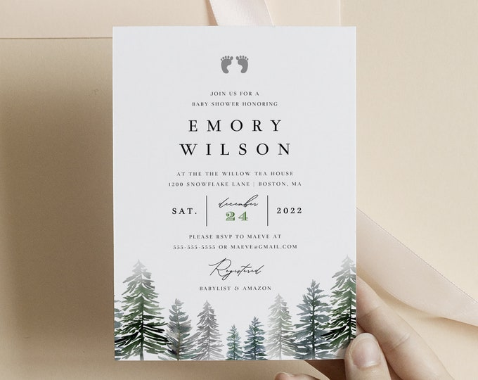 Winter Baby Shower Invitation, Winter Wonderland Invite Template, Gender Neutral, Boy, Rustic Forest Invite, Watercolor Trees Virtual Shower