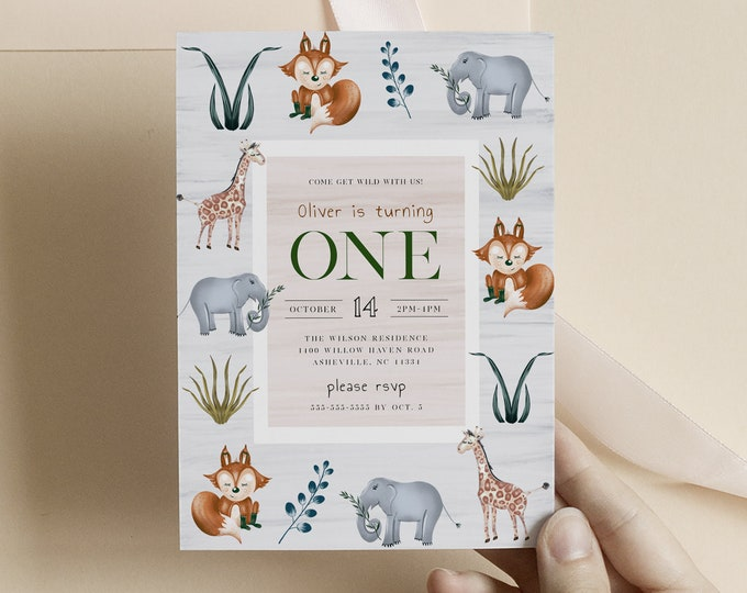 Woodland Animal Birthday Invitation, Instant Download, Jungle Invitation, Baby 1st Birthday, Wild One Theme, Downloadable Zoo Animal Invite
