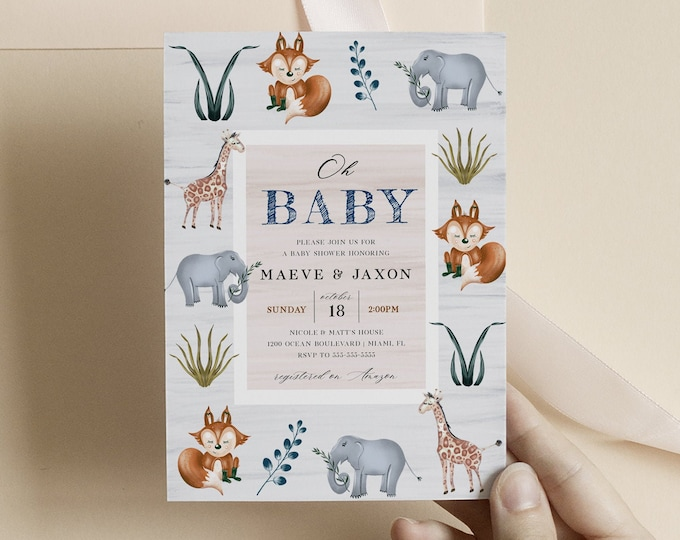 Woodland Animal Baby Shower Invitation, Printed Invitations or Digital Download, Gender Neutral Jungle Baby Shower Template Instant Download