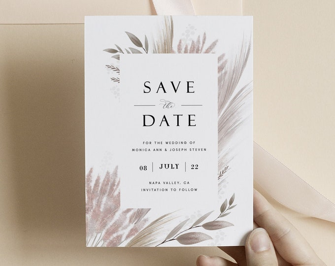 Pampas Grass Save the Date, Photo Save the Date Card, Template, Instant Download, Mauve, Rustic, Wheat Grass, Country, Picture, Bohemian 207