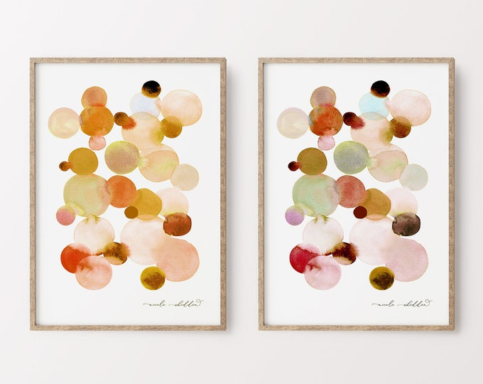 Abstract Watercolor Set of 2 Prints, Modern Boho Watercolor Set, Earth Tone Print Series, Printable Diptych Art, Living Room Wall Print Set