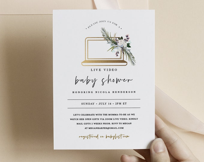 Virtual Baby Shower Invitation Template, Digital, Long Distance Baby Shower Invite, Text Email, Printed, Gold, Minimalist Gender Neutral 132