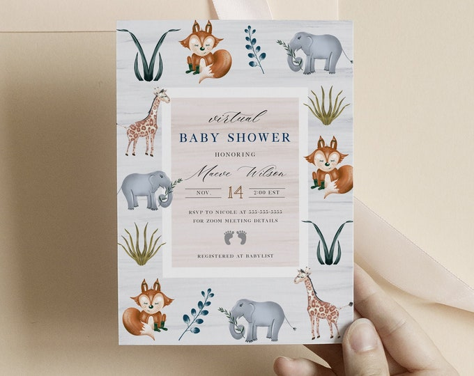 Virtual Shower Invitation Woodland, Instant Download, Gender Neutral Couples Shower Template, Shower By Mail, Baby Boy Shower Invitations