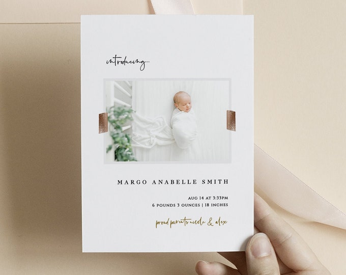 Photo Birth Announcement, Minimalist Baby Announcement Template, Newborn, Modern, Downloadable, Digital, Simple, Templett, Printed Girl, Boy
