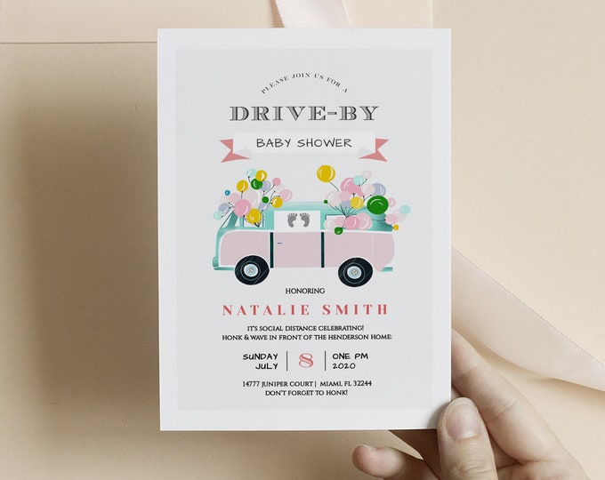 Drive By Baby Shower Invitation Girl, Editable Template, Instant Download, Balloons, Printable, Printed, Digital, Honk and Wave Pink, Gray