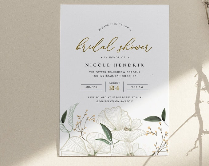 Orchid Bridal Shower Invitation, Printed or Digital, Botanical, Neutral, Ivory, White, Garden Theme, Virtual Bridal Shower By Mail, Editable