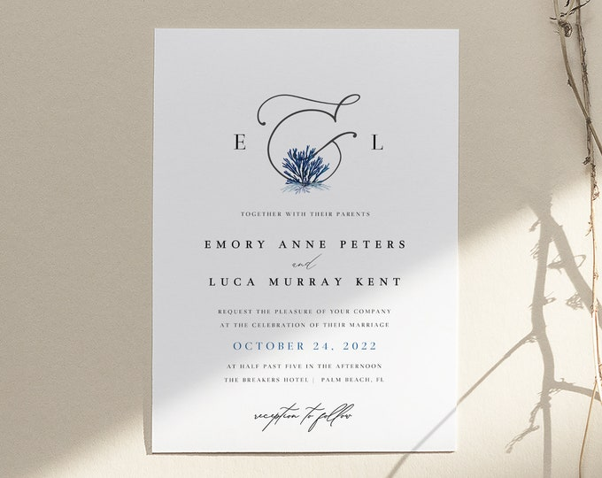 Minimalist Beach Wedding Invitation, Instant Download, Printed Coastal Invitation Suite, Navy Blue and White, Simple Invites, Editable Text