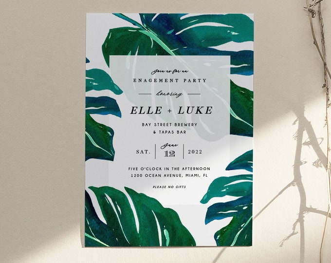 Engagement Party Invitation, Tropical, Elopement Announcement, Luau, Printable Invite, Invitation Template, Digital, Stock the Bar, Summer