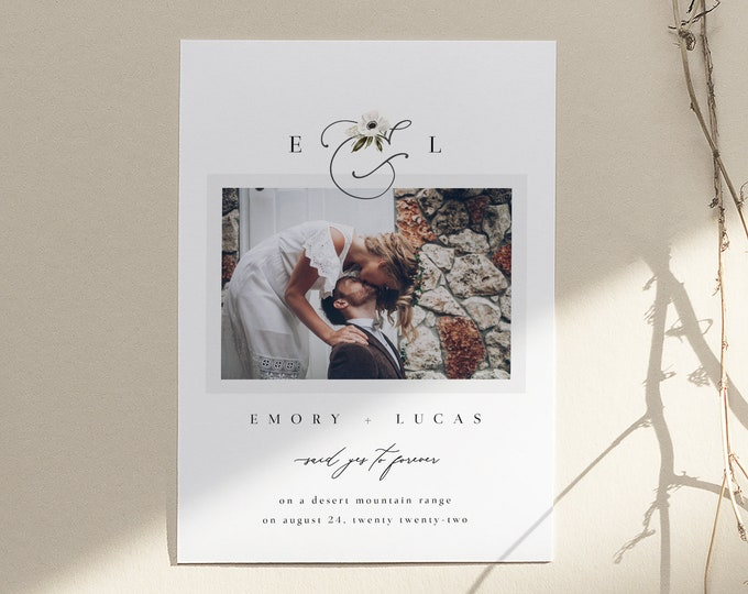 Modern Wedding Announcement, We Tied The Knot Photo Card, Elopement Announcement Modern, Instant Download, Editable Template, Minimalist DIY