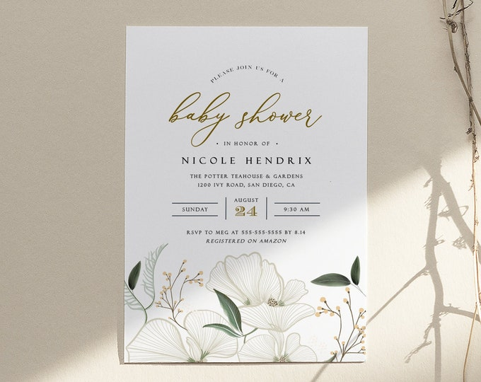 Orchid Baby Shower Invitation By Mail, Girl, Gender Neutral, Template, Elegant, Ivory, Greenery, Long Distance, Garden, Printed or Printable
