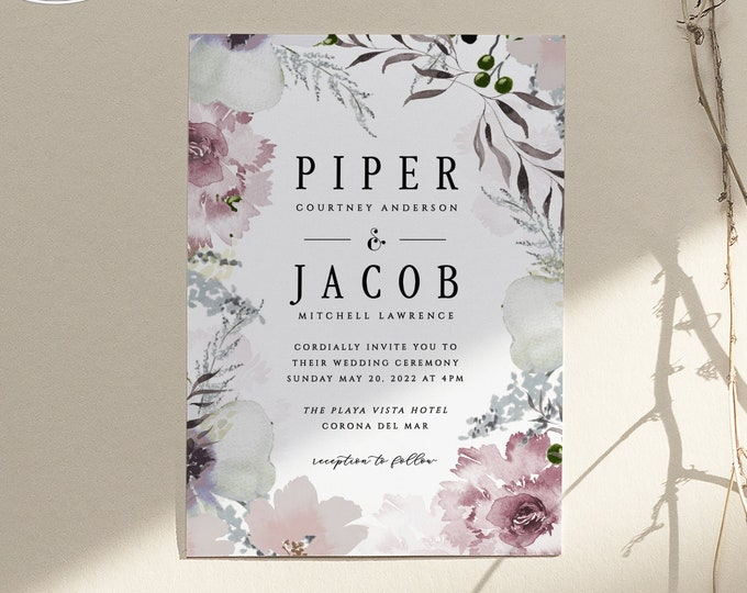 Wedding Invitation Suite, Editable Text, Dusty Rose, Blush, Gray, RSVP, Details Card, Template, Suite, Mauve, Modern, Digital Download, 445