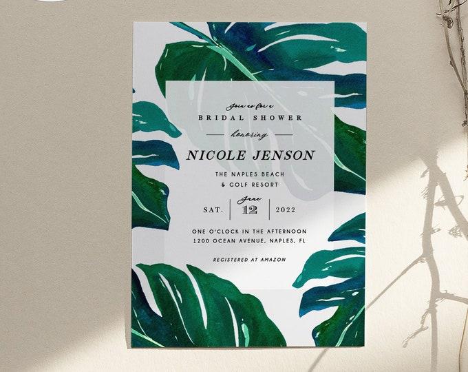 Tropical Bridal Shower Invitation, Editable, Printable Invite, Luau, Monstera Palm, Brunch, Banana Leaf, Hawaiian, Couples Shower Watercolor