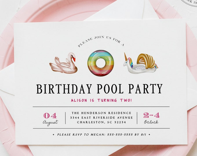Girl Pool Birthday Party Invitation, Pink, Adult, Pool Float, Instant Download, Editable, Digital, Printable Invitations, Printed, Unicorn