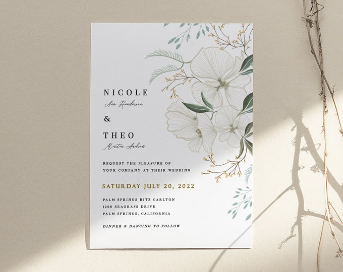 White floral Wedding Invitation, Orchid, Printable, Printed, Greenery, Ivory, Garden, Southern, Invitation Set, Printable, Florals, Neutral,