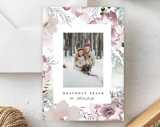 Christmas Card with Photo, INSTANT DOWNLOAD, Photo Holiday Card, Printable, Watercolor, Modern, Merry Christmas, Religious Editable Text PDF