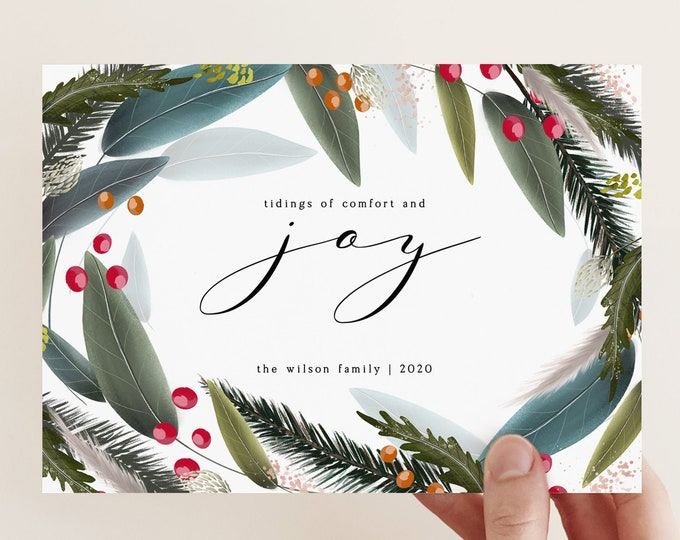 Digital or Printed Holiday Card Set, Overnight Shipping, Instant Download, Green Spruce Leaves, 5x7, Without Photo, Non-Photo Christmas Card