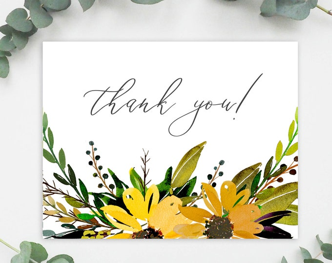 Instant Download, Printable Thank You Card, Wedding Thank You, Greenery, Sunflowers, Spring Wedding, Yellow Florals, Watercolor,Template 042