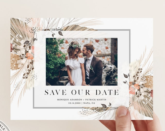 Bohemian Save the Date Photo Card, Instant Download, Printable Boho Save Our Date, Pampas Grass Invitation, Digital Template, Self-Editing