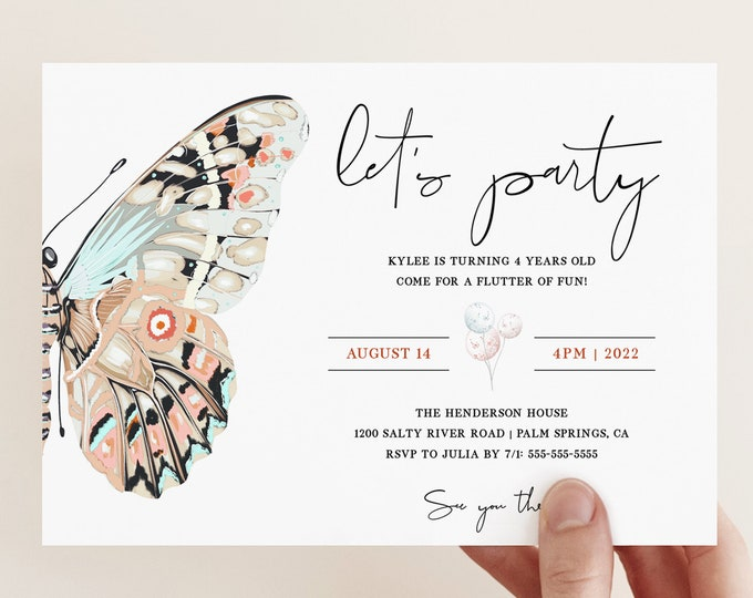 Butterfly Birthday Party Invitation Template, Printable Butterfly Invite, Garden Party, Printed Butterfly Invitations, Girl Birthday PDF
