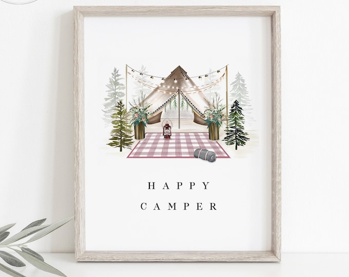 Happy Camper Wall Print, Instant Download, Downloadable Nursery Print Baby Girl, Kids Boho Watercolor Art, Printable Nursery Decor, PDF Gift