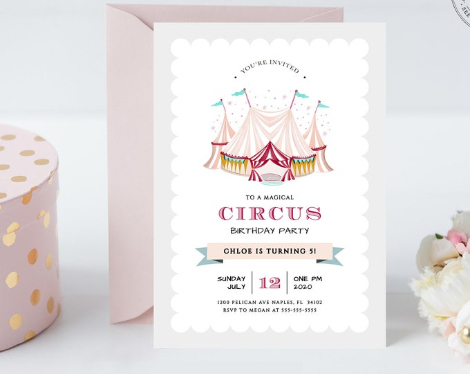 Circus Theme Birthday Party Invitation, Instant Download, Kids Birthday Party, Feminine, Carnival, Printed, Printable, Editable Invite Pink