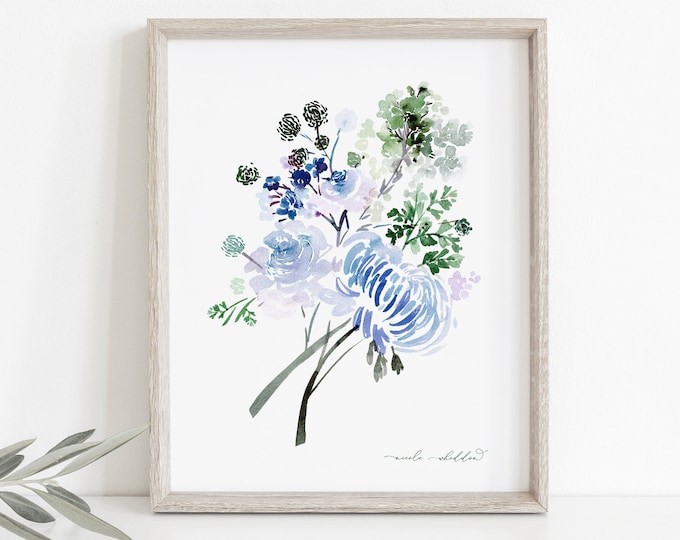 Blue and Green Watercolor Print, Wall Decor, Digital Art Download, Nursery Wall Art, Floral Watercolor Painting, Modern Botanicals, Original