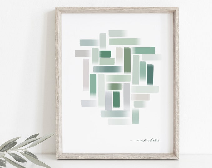 Minimalist Watercolor Print, Sage Green, Natural Cool Gray Tones, Printed, Digital, Simple, Organic Modern Printable Art, Wall Decor, Chic