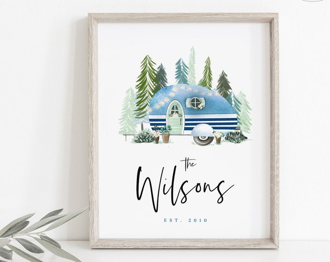 Camper Sign Printable, Happy Camper Family Name Print, Customized Rustic Wall Decor, Personalized Art, Family Established Print, Digital Art