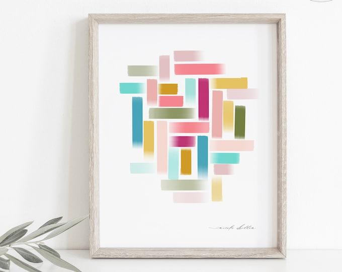 Pink Boho Watercolor Print, Bright Colors Graphic Painting, Digital Download or Printed, Girl Nursery Art, Kid Bedroom Print, Blush, Warm