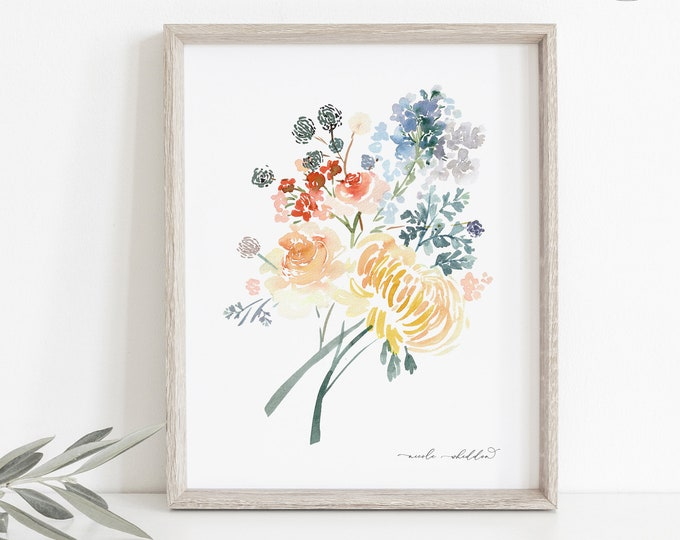 Modern Watercolor Botanical Painting, Downloadable or Printed, Nursery Wall Decor, Gift Idea, Colorful Bouquet Flowers, Watercolour Prints