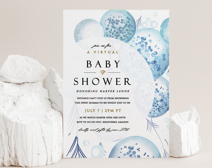 Virtual Boy Baby Shower Invitation, Digital, Printed, Template, Shower By Mail, Baby Boy, Blue, Gray, Balloons, Long Distance Invite 152