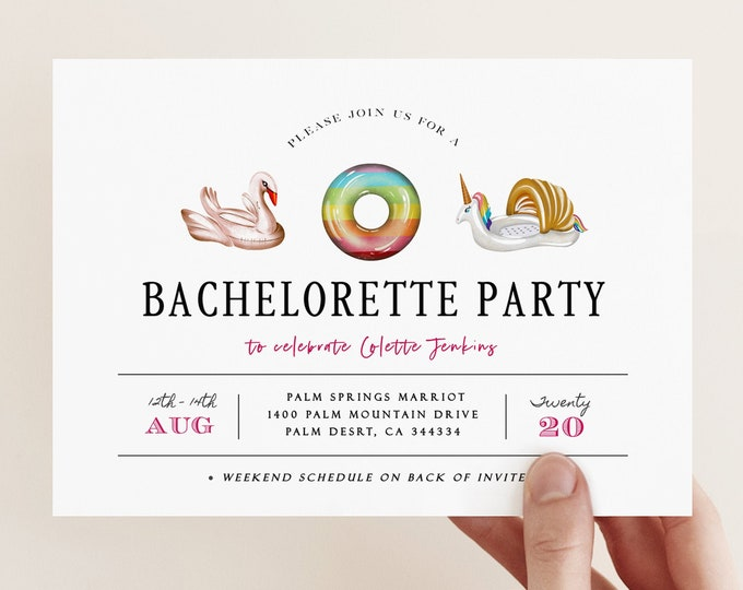 Pool Bachelorette Party Invitation, Editable Itinerary, Beach Party, Printable Template Summer Bachelorette Hens Party, Tropical, Pool Float